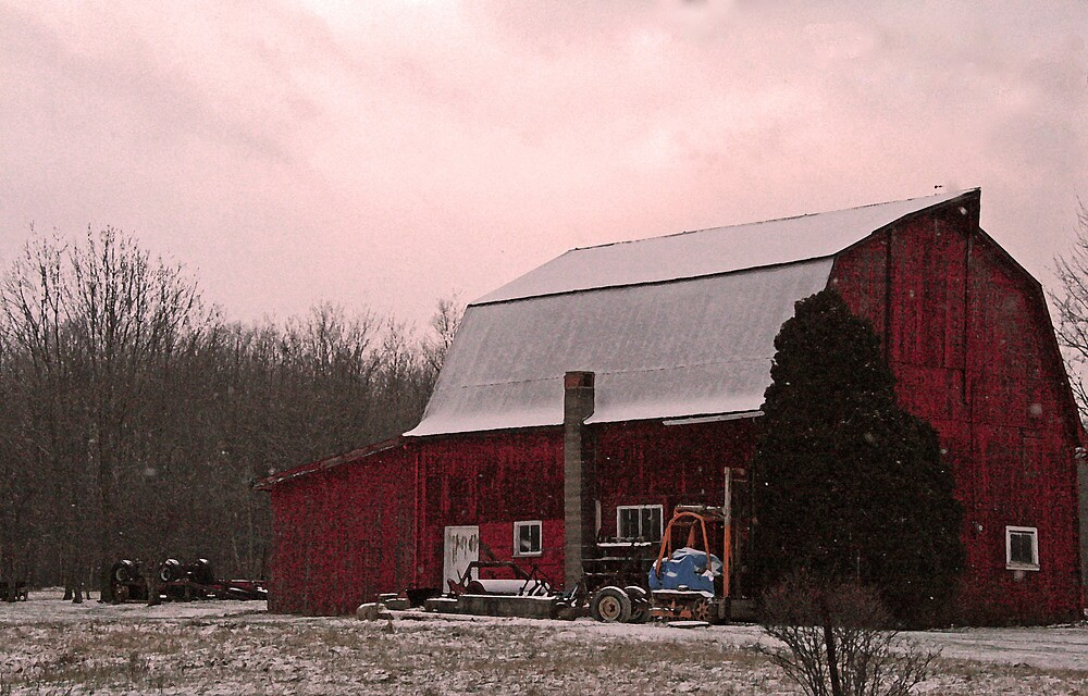 Red Barn Plus White Snow Equals Pink Sky by Geno Rugh