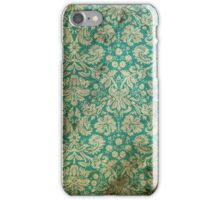 Stained Vintage Turquoise Floral Wallpaper iPhone Case/Skin
