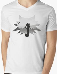 White wolf Mens V-Neck T-Shirt