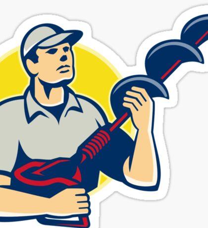 Builder Worker With Hole Driller Auger  Sticker