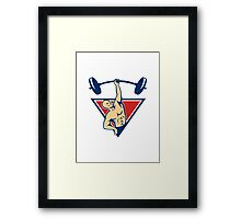 Weightlifter Lifting Barbell Weights Retro  Framed Print