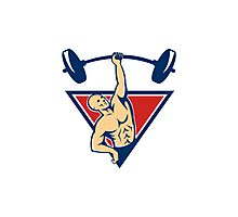 Weightlifter Lifting Barbell Weights Retro  Photographic Print
