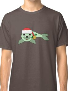 Light Green Baby Seal with Santa Hat, Holly & Gold Bell Classic T-Shirt