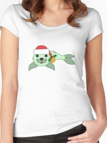 Light Green Baby Seal with Santa Hat, Holly & Gold Bell Women's Fitted Scoop T-Shirt