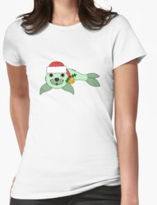 Light Green Baby Seal with Santa Hat, Holly & Gold Bell Womens Fitted T-Shirt