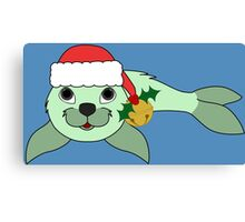 Light Green Baby Seal with Santa Hat, Holly & Gold Bell Canvas Print