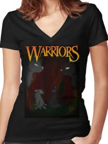 Gray Wing and Clear Sky - Warriors Women's Fitted V-Neck T-Shirt