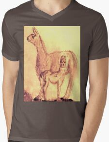 Mother Llama and Baby Mens V-Neck T-Shirt