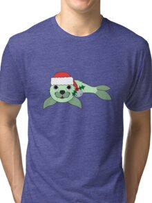 Light Green Baby Seal with Santa Hat, Holly & Silver Bell Tri-blend T-Shirt