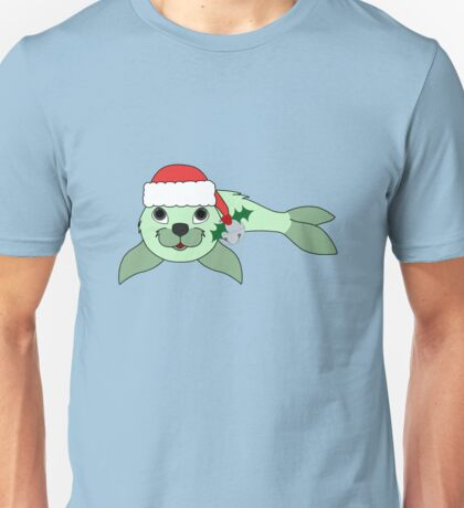Light Green Baby Seal with Santa Hat, Holly & Silver Bell Unisex T-Shirt