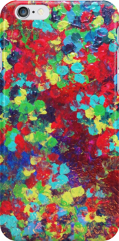 POND IN PIGMENT Bright Bold Neon Abstract Acylic Floral Aquatic Painting by EbiEmporium