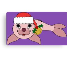 Light Pink Baby Seal with Santa Hat, Holly & Gold Bell Canvas Print