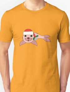 Light Pink Baby Seal with Santa Hat, Holly & Silver Bell T-Shirt