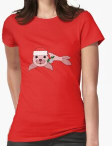 Light Pink Baby Seal with Santa Hat, Holly & Silver Bell Womens Fitted T-Shirt