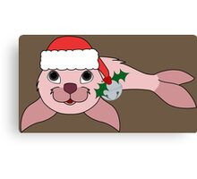 Light Pink Baby Seal with Santa Hat, Holly & Silver Bell Canvas Print