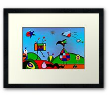My Homage To Miro - The Raven King and I Framed Print