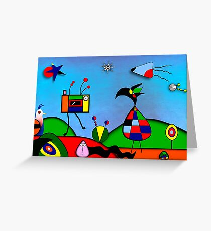 My Homage To Miro - The Raven King and I Greeting Card