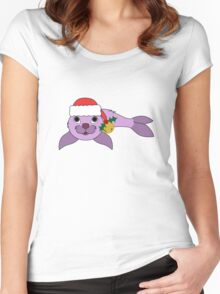 Light Purple Baby Seal with Santa Hat, Holly & Gold Bell Women's Fitted Scoop T-Shirt
