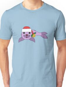 Light Purple Baby Seal with Santa Hat, Holly & Gold Bell Unisex T-Shirt