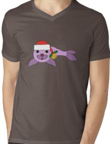 Light Purple Baby Seal with Santa Hat, Holly & Gold Bell Mens V-Neck T-Shirt