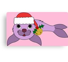 Light Purple Baby Seal with Santa Hat, Holly & Gold Bell Canvas Print