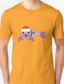 Light Purple Baby Seal with Santa Hat, Holly & Silver Bell T-Shirt