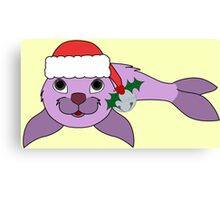 Light Purple Baby Seal with Santa Hat, Holly & Silver Bell Canvas Print