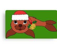 Red Baby Seal with Santa Hat, Holly & Gold Bell Canvas Print