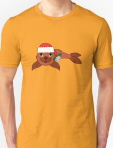 Red Baby Seal with Santa Hat, Holly & Silver Bell T-Shirt