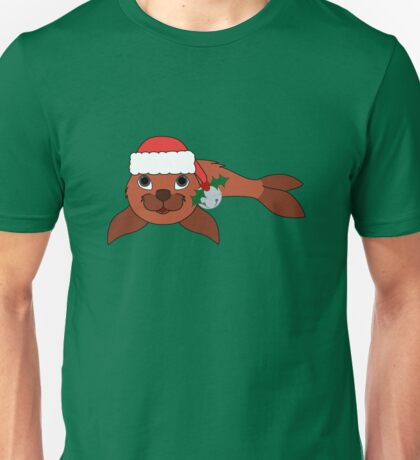Red Baby Seal with Santa Hat, Holly & Silver Bell Unisex T-Shirt