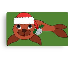 Red Baby Seal with Santa Hat, Holly & Silver Bell Canvas Print