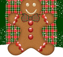 Plaid And Ginger Bread Man Holiday Greeting Card by Moonlake