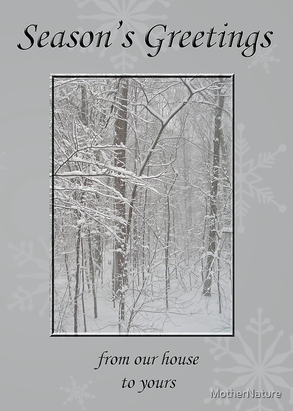 Happy Holidays From Our House To Yours Greeting - Snowy Woods by MotherNature