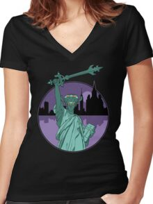 Defender of Liberty Women's Fitted V-Neck T-Shirt