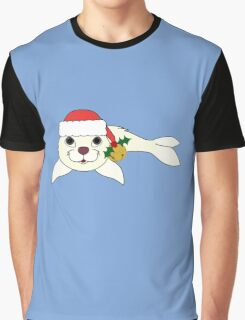 White Baby Seal with Santa Hat, Holly & Gold Bell Graphic T-Shirt
