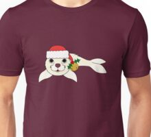 White Baby Seal with Santa Hat, Holly & Gold Bell Unisex T-Shirt