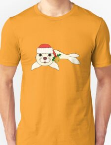 White Baby Seal with Santa Hat, Holly & Gold Bell T-Shirt