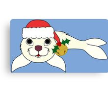 White Baby Seal with Santa Hat, Holly & Gold Bell Canvas Print