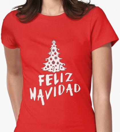 Feliz Navidad with Tree Womens Fitted T-Shirt