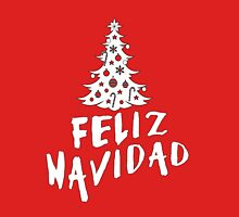 Feliz Navidad with Tree Womens Fitted T-Shirt
