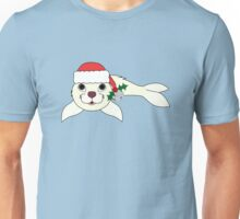 White Arctic Seal with Santa Hat, Holly & Silver Bell Unisex T-Shirt