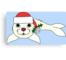 White Arctic Seal with Santa Hat, Holly & Silver Bell Canvas Print