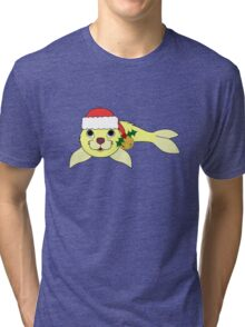 Light Yellow Baby Seal with Santa Hat, Holly & Gold Bell Tri-blend T-Shirt