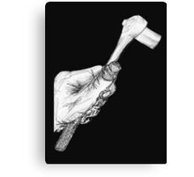 Wrench in Mechanic's Hand, black background Canvas Print