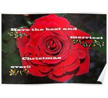 Firefighter rose Christmas card Poster