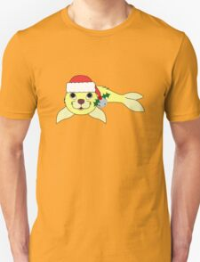 Light Yellow Baby Seal with Santa Hat, Holly & Silver Bell T-Shirt