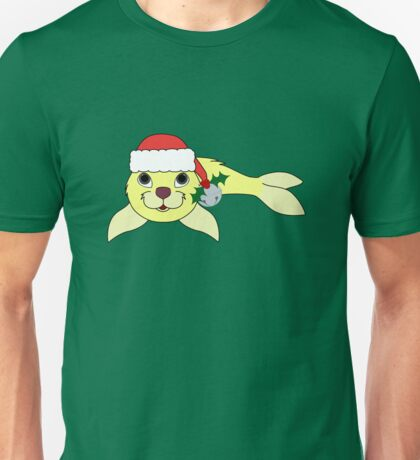 Light Yellow Baby Seal with Santa Hat, Holly & Silver Bell Unisex T-Shirt