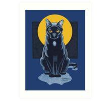 Black Cat With Moon Art Print
