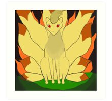 Nintails sitting in fire Art Print