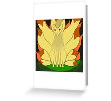Nintails sitting in fire Greeting Card